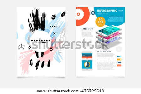 Hand Drawn Universal Art. Design for Flyers, Placards, Posters, Invitations, Brochures. Artistic Creative Template. Abstract Modern Style #475795513