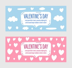 Hand drawn valentine's day banners. Banners in two colors blue and pink. Vector.
