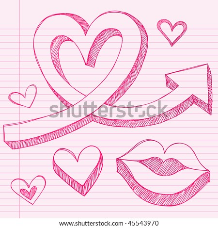 kissing lips drawing. 3D Arrow and Lips Kissing