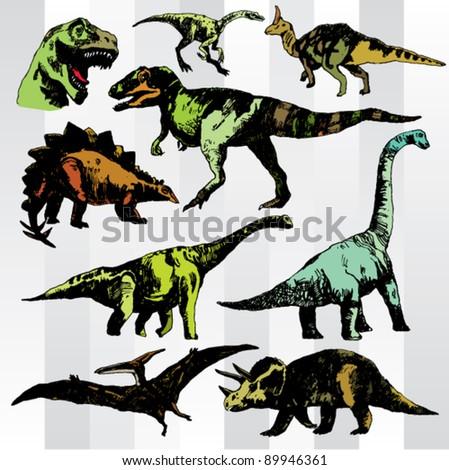 hand drawn various dinosaurs