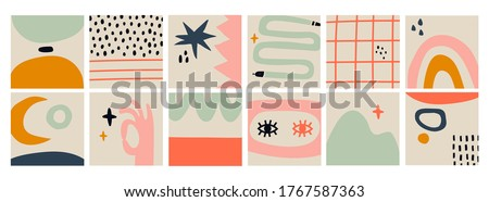 Hand drawn various Shapes and Doodle objects, snakes, eyes, moon. Abstract contemporary modern trendy Vector illustrations. Big Set of isolated Patterns, Backgrounds, Wallpapers. Pastel colors