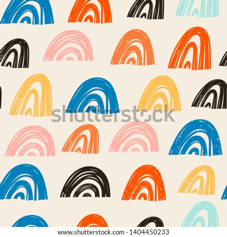 Hand drawn various shapes. Rainbow shapes, arcs. Abstract contemporary seamless pattern. Modern trendy vector illustration