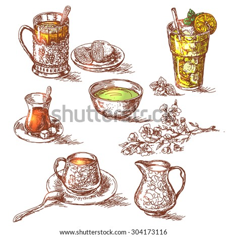 Hand drawn various teas set. Sketch of green, iced and black tea. Hot beverage with lemon, sugar and milk. Glass of cold drinking with ice. Emphasis is placed on the color of drink.