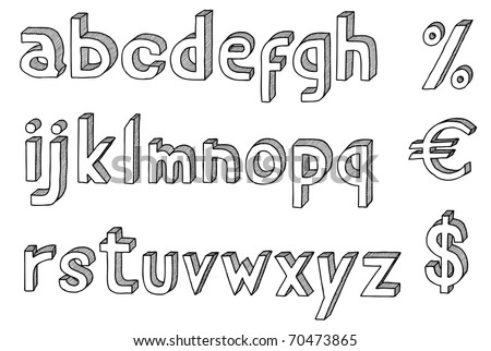 Hand drawn vector abc,3D alphabet with dollar and euro