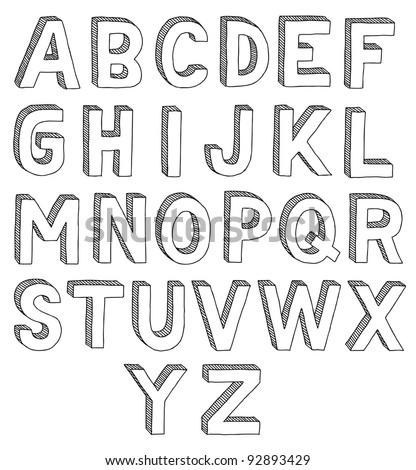 M Alphabet In 3d Hand Drawn Vector Abc, Font, 3d, Alphabet - 92893429 : Shutterstock