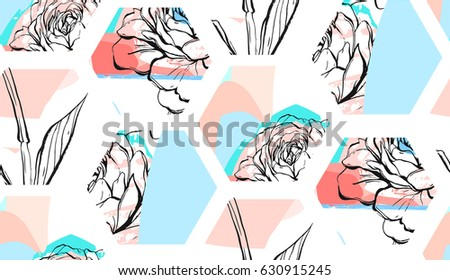 Hand drawn vector abstract artistic textured hexagon shapes collage seamless pattern with graphic may flowers in pastel colors. Unusual decoration isolated on white background.