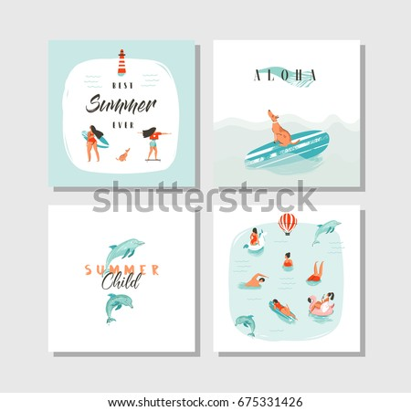 hand drawn vector abstract cartoon summer time fun cards collection set template with happy swimming people skateboarding