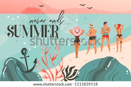 Hand drawn vector abstract cartoon summer time graphic illustrations art template background with ocean beach landscape,pink sunset,boys and girls on beach scene and summer never ends typography