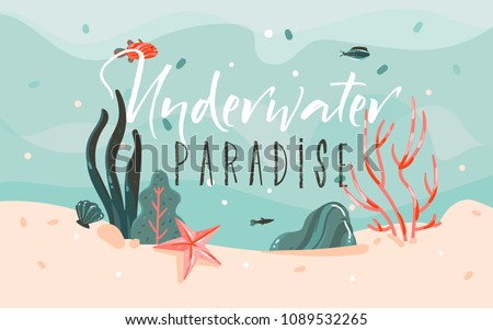 Hand drawn vector abstract cartoon summer time graphic illustrations template background with ocean bottom,corals reefs,seaweed and Underwater Paradise typography quote isolated on blue water waves.