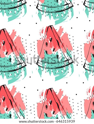 Hand drawn vector abstract collage seamless pattern with watermelon fruit isolated on white background.Unusual decoration for summer time wedding,birthday,save the date,journaling,fashion fabric