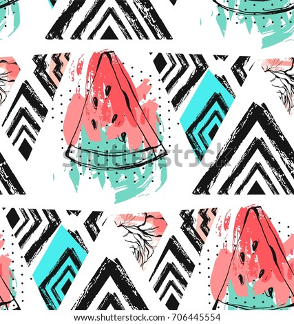 Hand drawn vector abstract collage seamless pattern with watermelon fruit isolated on white background. #706445554