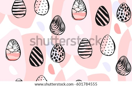 Hand drawn vector abstract creative universal Happy Easter seamless pattern design element with Easter eggs in pastel colors isolated on white background.Spring unusual graphic decoration.