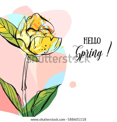 Hand drawn vector abstract creative universal unusual Hello spring greeting card illustration with graphic flower in pastel colors isolated on white background.Spring background positive concept art