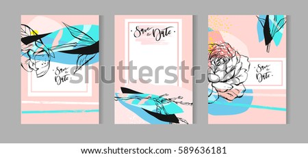 Hand drawn vector abstract creative unusual bohemian wedding save the date cards template collection set with graphic peony flowers in pastel colors.Boho Wedding,anniversary,birthday,party invitations