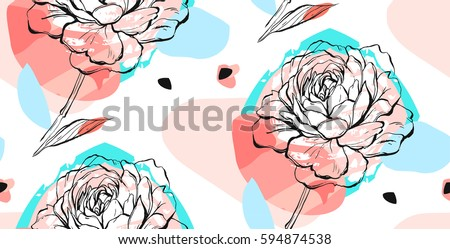 Hand drawn vector abstract creative unusual seamless pattern with graphic peony flower in pastel colors.Hand made drawing textures.