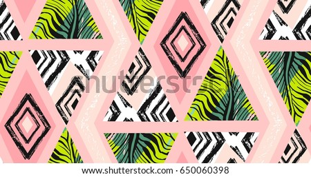 Hand drawn vector abstract freehand textured seamless tropical pattern collage with zebra motif,organic textures,triangles isolated on pastel background.Wedding,save the date,birthday,fashion decor.