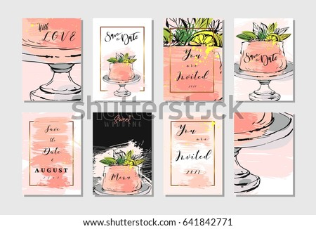 Hand drawn vector abstract freehand textured unusual save the date cards set template with cake stand design,flowers,lemon,golden frame and modern calligraphy in peach colors.Wedding,birthday,rsvp.