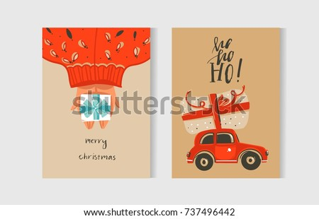 Hand drawn vector abstract fun Merry Christmas time cartoon cards collection set with cute illustrations and surprise gift boxes isolated on kraft paper background.
