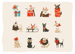 Hand drawn vector abstract fun Merry Christmas time cartoon icons illustrations collection set with mammal happy dogs in holidays xmas tree costumes isolated on white background.