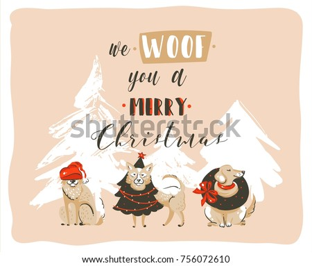 Hand drawn vector abstract fun Merry Christmas time cartoon illustrations poster with xmas dogs and modern handwritten calligraphy text We Woof you a Merry Christmas isolated on pastel background.
