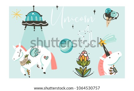 Stock Photo Hand drawn vector abstract graphic creative artistic cartoon illustrations collection set with unicorns with old school tattoo,flowers,galaxy planets and ufo spaceship isolated on white background.