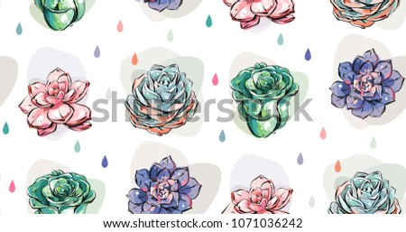 a8d62e3acb26 Hand drawn vector abstract ink graphic brush textured sketch drawing  seamless pattern with blossom succulent flowers