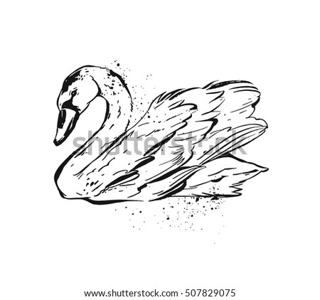 hand drawn vector abstract ink