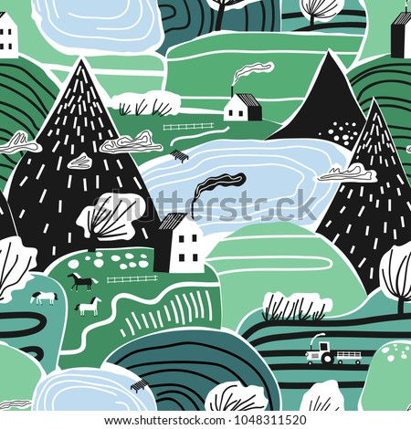 Hand drawn vector abstract scandinavian graphic illustration seamless pattern with house,trees and mountains. Nordic nature landscape concept. Perfect for kids fabric, textile, nursery wallpaper.