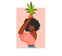 Hand drawn vector abstract stock graphic illustration with young happy,summer beach bohemian black afro american beauty female character avatar for social media isolated on white background