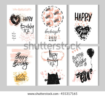 happy birthday card with watercolor hand drawn balloons design