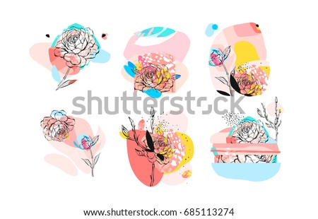 Hand drawn vector abstract textured trendy creative universal collage collection elements set with peony flowers motifs isolated on white background with different textures and shapes.