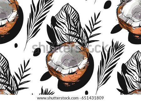 Hand drawn vector abstract unusual seamless pattern with exotic tropical fruit coconut ant palm leaves isolated on white background.