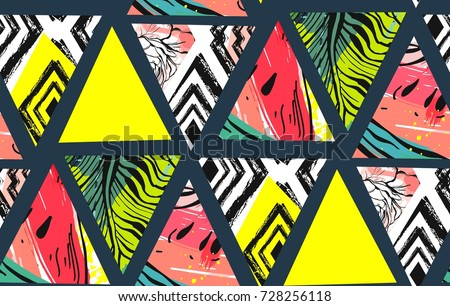 Hand drawn vector abstract unusual summer time decoration collage seamless pattern with watermelon,aztec and tropical palm leaves motif isolated.