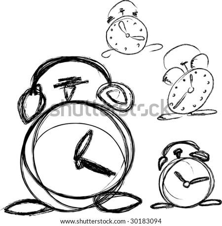 Hand drawn vector alarm clock