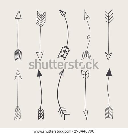 Hand drawn vector arrows  #298448990