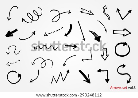 Hand drawn vector arrows.Black arrows set.