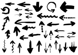 Hand drawn vector arrows, brush strokes.