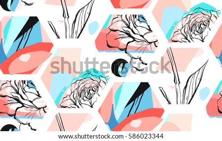 Hand drawn vector artistic universal textured abstract seamless pattern with hexagon shapes,textures and nature floral motifs in pastel colors isolated on white background.Unusual trendy spring design