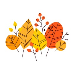 Hand drawn vector autumn leaves set. Design for poster, kitchen textiles, clothing and website