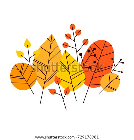 Stock Photo Hand drawn vector autumn leaves set. Design for poster, kitchen textiles, clothing and website