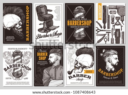 Hand drawn  vector barber shop banners with sketch engraving illustration. Monochrome templates set of poster design for hair salon