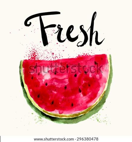 Hand drawn vector bright watermelon in watercolor technique.