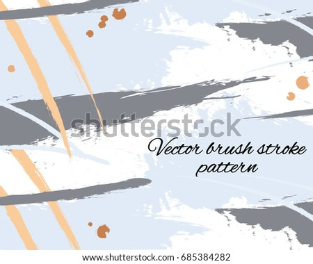 Hand Drawn Vector Brush Hipster Grey Blue Pattern. Stylish Geometric Fantasy  Print. Speed Style
