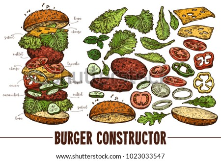 Hand drawn vector burger with ingredients. Sketch illustration of hamburger products components and elements. Constructor for fast food restaurant menu