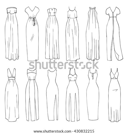 hand drawn vector clothing set