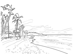 Hand drawn vector coloring book for children and adults - seascape. Coastline with palm trees and a rescue tower. Line art illustration. Meditation