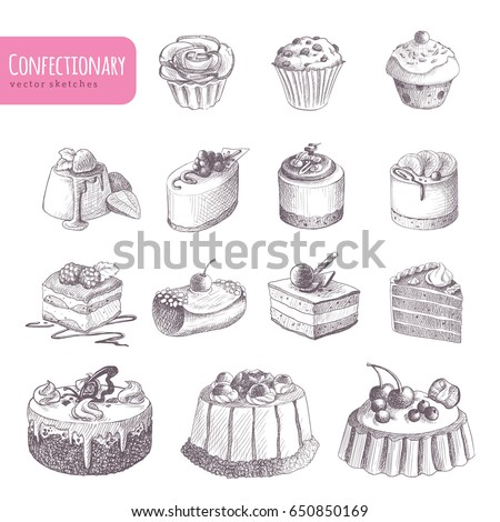 hand drawn vector confectionery