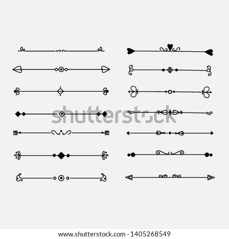 Hand drawn vector dividers. Lines, borders and laurels set. Doodle design elements. #1405268549