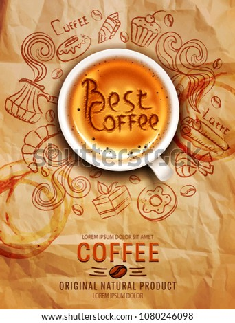 Hand-drawn vector doodles on a coffee theme: cups, turka, curls, cake, cinnamon, donuts, candies, coffee beans, sweets with cup of coffee on a background of old, crumpled paper . Elements for design.