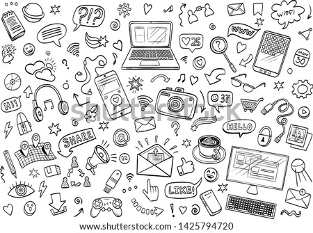 Hand drawn vector doodles. Sei os social media a nd devices objects and elements